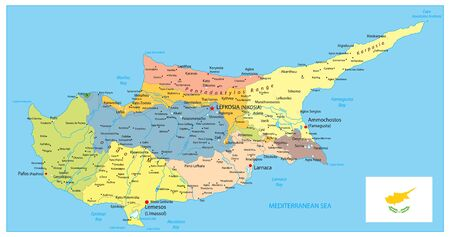 Cyprus Political Map. Detail administrative vector map of Cyprus.
