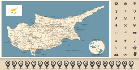Cyprus Road Map and Map Icons. Detail vector map of Cyprus with roads and icons.