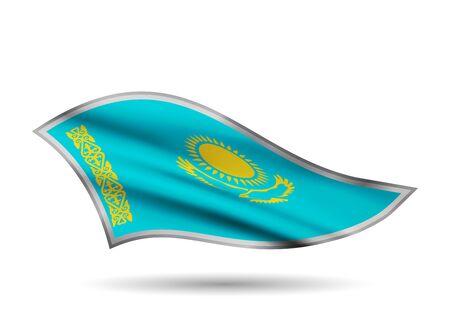 Dynamic Waving Flag of Kazakhstan. Cap-band stylized. Иллюстрация