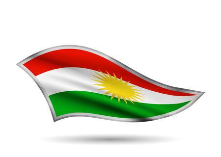 Waving Flag of Kurdistan. Cap-band stylized.