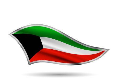 Dynamic Waving Flag of Kuwait. Cap-band stylized. Иллюстрация