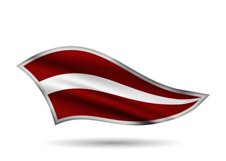 Waving Flag of Latvia. Cap-band stylized. Иллюстрация
