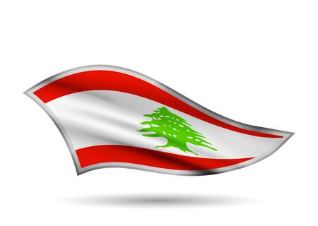 Waving Flag of Lebanon. Cap-band stylized. Иллюстрация