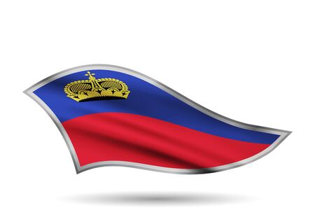 Dynamic Waving Flag of Liechtenstein. Cap-band stylized. Иллюстрация