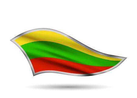 Waving Flag of Lithuania. Cap-band stylized. Иллюстрация