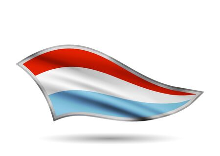 Waving Flag of Luxembourg. Cap-band stylized.