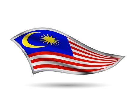 Dynamic Waving Flag of Malaysia. Cap-band stylized. Иллюстрация
