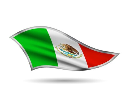 Dynamic Waving Flag of Mexico. Cap-band stylized.