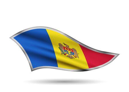Waving Flag of Moldova. Cap-band stylized.