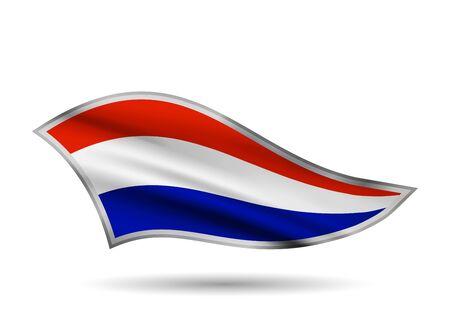 Dynamic Waving Flag of Netherlands. Cap-band stylized.