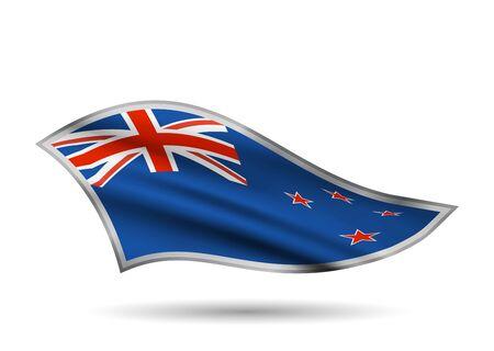 Dynamic Waving Flag of New Zealand. Cap-band stylized.