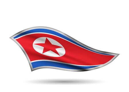 Dynamic Waving Flag of North Korea. Cap-band stylized.