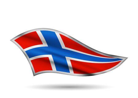 Dynamic Waving Flag of Norway. Cap-band stylized.