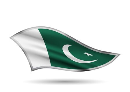 Dynamic Waving Flag of Pakistan. Cap-band stylized.