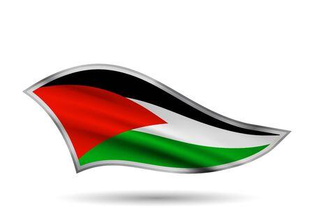 Dynamic Waving Flag of Palestine. Cap-band stylized. Иллюстрация