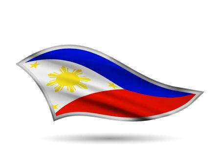 Dynamic Waving Flag of Philippines. Cap-band stylized.