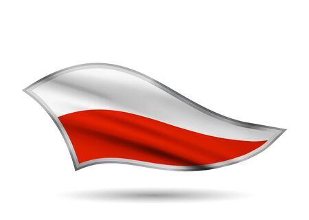 Waving Flag of Poland. Cap-band stylized. Иллюстрация