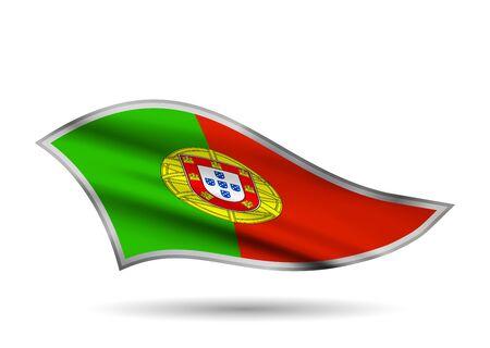 Dynamic Waving Flag of Portugal. Cap-band stylized.