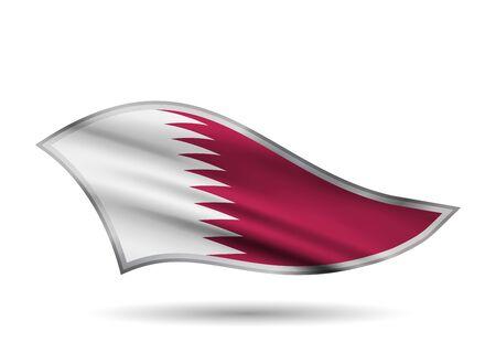 Dynamic Waving Flag of Qatar. Cap-band stylized.