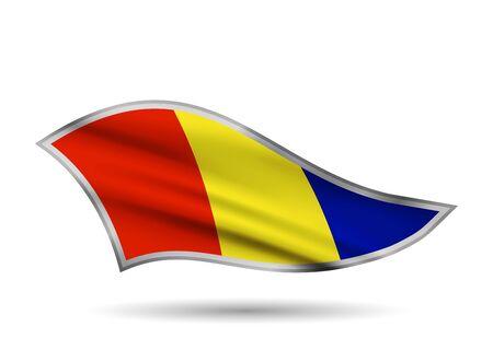 Waving Flag of Romania. Cap-band stylized.