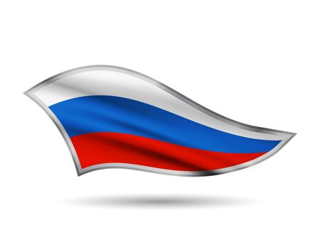 Dynamic Waving Flag of Russian Federation. Cap-band stylized. Иллюстрация