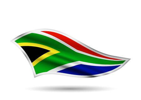 Dynamic Waving Flag of South African Republic. Cap-band stylized.