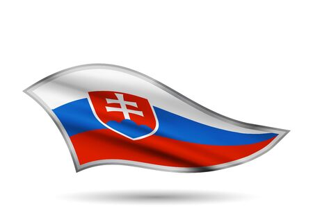 Waving Flag of Slovakia. Cap-band stylized.