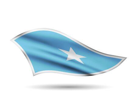 Dynamic Waving Flag of Somalia. Cap-band stylized.