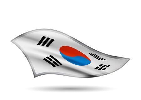 Dynamic Waving Flag of South Korea. Cap-band stylized.