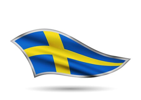 Dynamic Waving Flag of Sweden. Cap-band stylized.