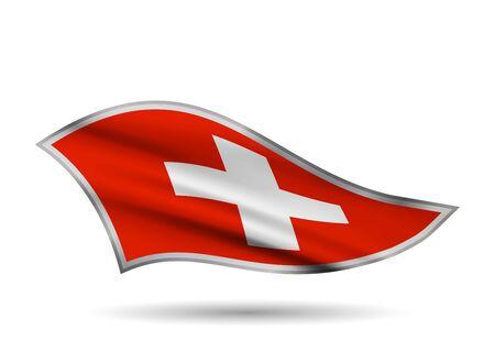 Dynamic Waving Flag of Switzerland. Cap-band stylized.