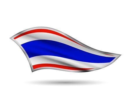 Dynamic Waving Flag of Thailand. Cap-band stylized.