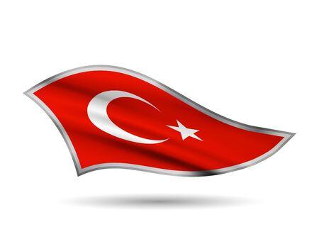 Dynamic Waving Flag of Turkey. Cap-band stylized.