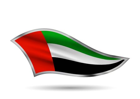Dynamic Waving Flag of UAE. Cap-band stylized.