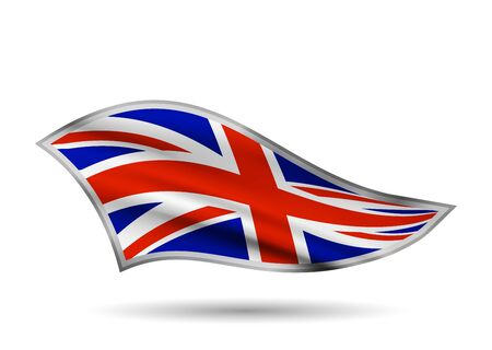 Dynamic Waving Flag of United Kingdom. Cap-band stylized.