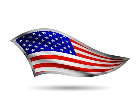 Dynamic Waving Flag of USA. Cap-band stylized. Иллюстрация