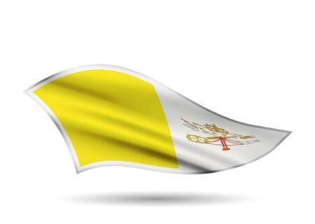 Dynamic Waving Flag of Vatican. Cap-band stylized.
