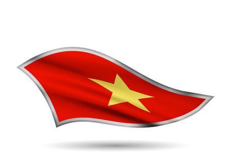 Dynamic Waving Flag of Vietnam. Cap-band stylized.