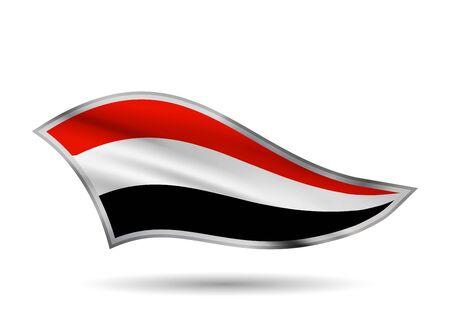 Waving Flag of Yemen. Cap-band stylized.