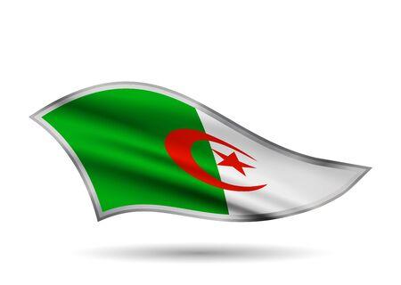 Waving Flag of Algeria. Cap-band stylized.