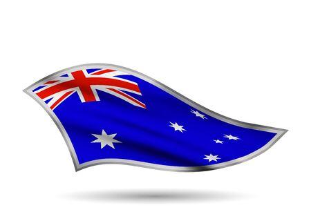 Waving Flag of Australia. Cap-band stylized. Иллюстрация