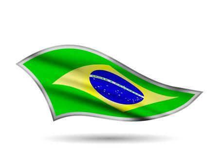 Waving Flag of Brazil. Cap-band stylized.