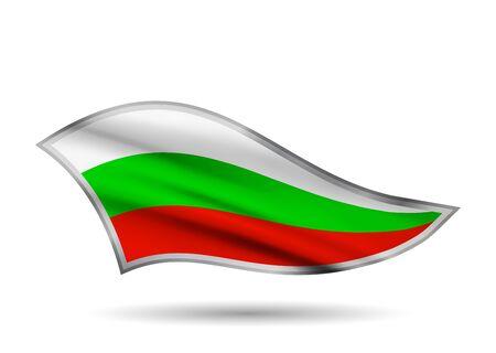 Waving Flag of Bulgaria. Cap-band stylized.