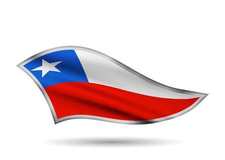 Waving Flag of Chile. Cap-band stylized. Иллюстрация