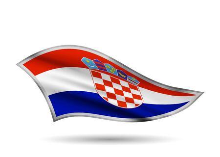 Waving Flag of Croatia. Cap-band stylized.