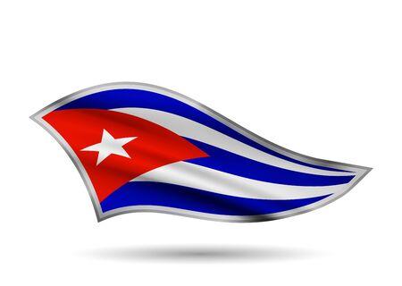 Dynamic Waving Flag of Cuba. Cap-band stylized.