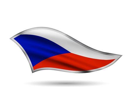 Waving Flag of Czech Republic. Cap-band stylized.