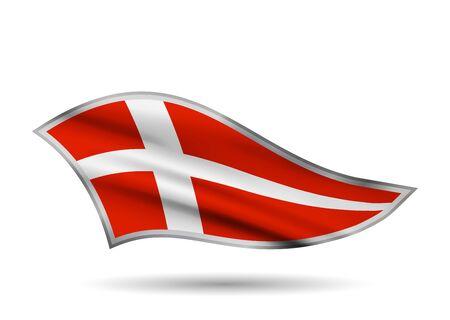 Waving Flag of Denmark. Cap-band stylized.