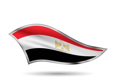 Dynamic Waving Flag of Egypt. Cap-band stylized.