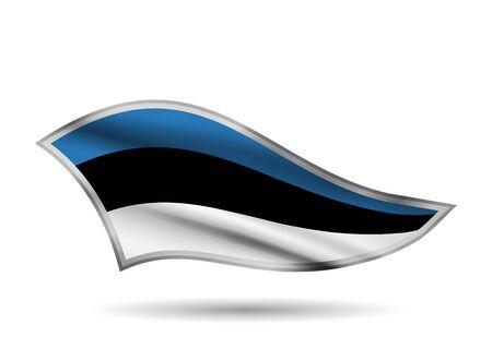 Waving Flag of Estonia. Cap-band stylized.